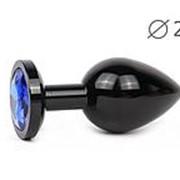 Коническая черная анальная втулка с синим кристаллом - 7 см. фото