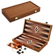 Нарды в деревянном кейсе, цвет орех фото
