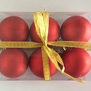"""Набор елочных шаров """"Красный бархат"""", 6 шт, 6 см, красные матов., (MILAND) фото"""