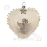 Декор Сердце с ангелом стекл. белое 2 фото