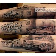 Татуировка Ретро-автомобиль (2 сеанса) фото