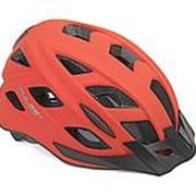 Шлем с сеточкой PULSE LED X8 16отв. СВЕТОДИОДЫМ ФОНАРИКОМ 6диодов/2функции матово красный 52-58см AUTHOR фото