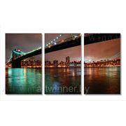 """Модульная картина из 3-х частей на холсте """" Нью-Йорк : Манхэттенский мост """" фото"""