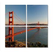 """Модульная картина из 4-х частей на холсте """"Сан Франциско - Мост Золотые Ворота """" фото"""