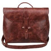 Коричневый кожаный мужской портфель из натуральной кожи фото