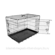 Клетка для собак двухдверная Pet Kennel, чёрная DUVO+ фото