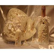 Свадебный комплект: шкатулка, бокалы, бутылка, свеча фото