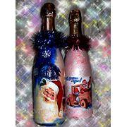 Декупаж шампанского в новогодней тематике фото