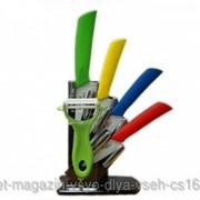 Набор керамических ножей с овощечисткой фото