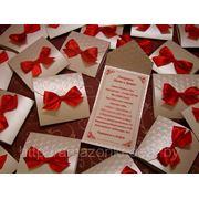 Приглашение на свадьбу № 102-1-red (9,5 х 10 см) фото
