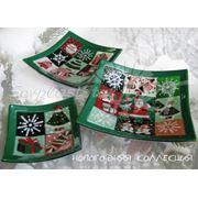 Новогодние подарочные сувениры из цветного стекла фото