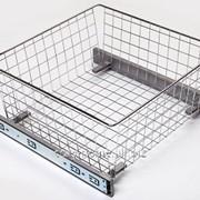 Корзина сетчатая выдвижная для кухни и шкафа-купе 450х500х120мм, хром. фото