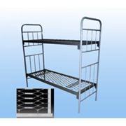 Кровать металлическая армейская 2 - ярусная ГОСТ 2056-77 сетка панцирная фото