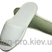 Тапки махровые Сальса белые 4мм открытый носок фото