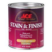 Лак-морилка Stain&Finish (темный дуб) 0,9л, глянц., Ace фото
