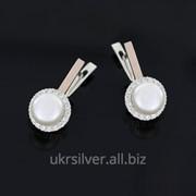 Серебряные серьги Бутон с жемчугом фото