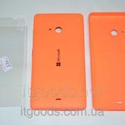 Крышка задняя оранжевая для Microsoft Lumia 540 + ПЛЕНКА В ПОДАРОК 3924 фото