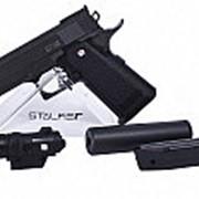 Пистолет пневм. Stalker SA5.1S Spring (аналог Hi-Capa 5.1)+имит.ПБС+ЛЦУ,6мм,мет.корп,маг.16шар,до 80м/с,черн(24 шт./уп.) фото