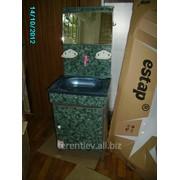 Дачно-гаражный набор(мойдодыр) - для строений где нет водопровода(тумба с нержавеющей мойкой 40*50см,бак для воды емк.15л с зеркалом,краном,мыльницами,крючками для полотенца). Дачный унитаз. фото