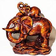 Статуэтка Слоны 40*24*41 см коричневый фото