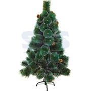 Новогодняя ель 120 см с 10 шишками и снегом, 90 веток, цвет зеленый фото