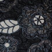 Кожа Свиная Принт черные жатые цветы А4106 фото