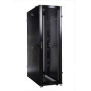 Шкаф серверный ПРОФ напольный 48U (600x1000) дверь перфор., задние двойные перфор., черный, в сборе фото