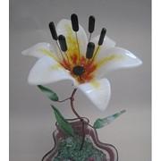 Декоративный цветок из стекла Лилия белая фото