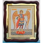 Икона большая аналойная с багетом, в фигурном киоте, Арх Михаил рост, 28х32 фото