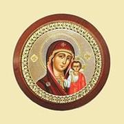 Калужская церковная мастерская Казанская Богородица, автомобильная икона-наклейка, дерево, серебряный нимб Высота иконы 5,4 см фото