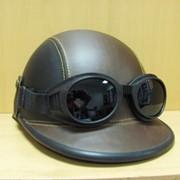 Шлем байкера с очками Немецкий черно-зеленый, арт. 151001/4 фото