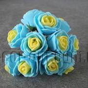 Букет желто-голубых розочек из латекса 2,5-3,0 см 3424 фото