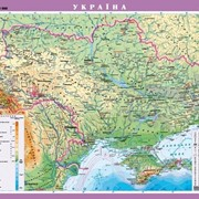 Україна. Фізична карта, м-б 1:1 000 000 (на картоне ламинированная на планках) фото
