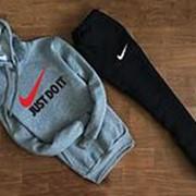 Мужской спортивный костюм Nike серо чёрный с капюшоном (Логотип Just do it) фото