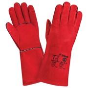 Краги кожаные спилковые комбинированные с брезентом с усиленными защитными накладками фото