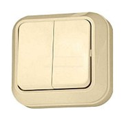 Выключатель о/у Makel 45203, 2 клавиши, 10А, 230В, IP20, кремовый фото