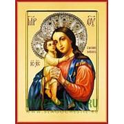 Храм Покрова Богородицы Взыскание погибших Богородица, икона на сусальном золоте (дерево 2 см с ковчегом) Высота иконы 10 см фото