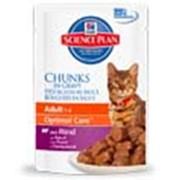 Корм для котов Hill's Science Plan Optimal Care паучи для взрослых кошек с говядиной 85 гр фото