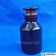 Склянка для реактивов тёмное стекло с притёртой пробкой 250 мл (широкое горло) фото