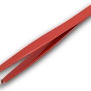 Пинцет для бровей со скошенными кончиками (красный) в тубе фото