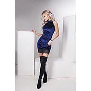 Платье женское из бархата с кружевом FL/-1057 - Синий фото