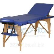 Складной массажный стол дереянный ErgoVita CLASSIC PLUS (3-х секционный, синий) фото