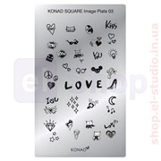 Мини пластина для стемпинга Konad Square Image Plate 03 фото