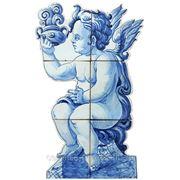 Керамические панно ангел с лампой -anj-7 фото