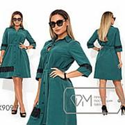Платье женское прямого кроя с гипюровыми вставками (3 цвета) - Изумрудный PY/-0142 фото