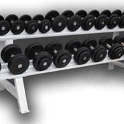 ГП-007 Обрезиненный гантельный ряд от 3,5 до 31 кг с шагом 2.5 кг (12 пар) фото