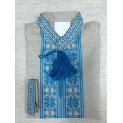 Льняная рубашка с голубым узором (Б-59) фото