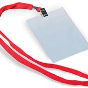 Бэйдж прозрачный вертикальный на шнурке 85 115мм, ec003 фото