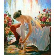 Картина балерина и цветы, яркая жанровая живопись маслом на холсте. фото