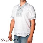 Вышиванка для мужчин с аккуратной машинной вышивкой на белом льне (см-011) фото